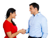 Couple shaking hands — Stock Photo