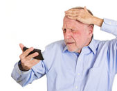 Senior mature man feeling head — Stock Photo