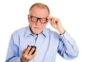 Senior mature man with vision problems — Stock Photo