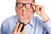 Mature man with vision problems — Stock Photo