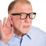 Senior man hard of hearing — Stock Photo #43510281