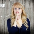 Woman placing finger hand on lips shhh sign — Stock Photo #43512997
