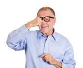 Man with pinch nose — Stock Photo