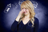 Woman covers her nose — Stock Photo