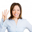 Young woman making four times sign gesture — Stock Photo