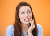 Woman with sensitive tooth ache — 图库照片