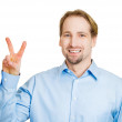Man giving peace, victory sign — Stock Photo