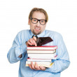 Man with books and empty wallet on top — Stock Photo