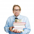 Man holding books in arms with money on top — Stock Photo #43714633