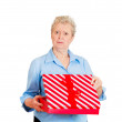 Woman receiving gift very displeased — Stock Photo #43714891