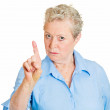 Woman pointing with index finger hand upwards — Stock Photo #43715113