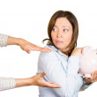 Woman holding piggy bank — Stock Photo #43715835