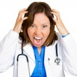 Angry yelling healthcare professional — Stock Photo