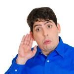Man listening in on juicy gossip — Stock Photo #43717869
