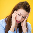 Headache, stressed woman — Stock Photo