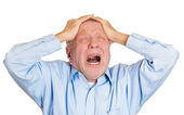 Grandfather suffering from severe migraine — Stock Photo