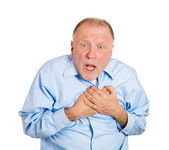 Man with chest pain — Stock Photo