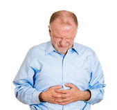 Man with stomach pain — Stock Photo