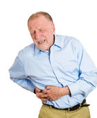 Man with right-sided abdominal pain — Stock Photo