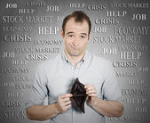 Man holding empty wallet — Stock Photo