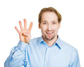 Man making four times sign gesture — Stock Photo