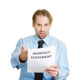 Man unhappy with monthly statement — Stockfoto