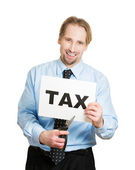 Man cutting taxes with scissors — Stock Photo