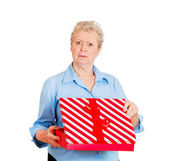 Woman receiving gift very displeased — Stock Photo