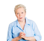 Woman with clasped hands — Stock Photo