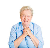 Woman showing clasped hands — Stock Photo