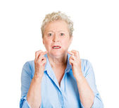 Woman crossing her fingers — Stock Photo