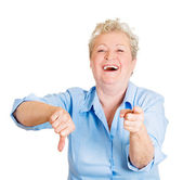 Woman showing thumbs down sign — Stock Photo