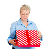 Woman excited, happy after opening gift — Stock Photo
