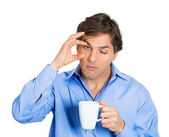 Falling asleep man with coffee cup — Stock Photo