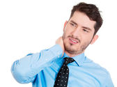 Man with neck pain — Stock Photo