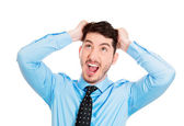Stressed man pulling hair out — Stock Photo