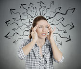 Overwhelmed woman — Stock Photo