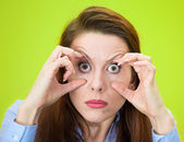 Funny young woman trying to stay awake — Stock Photo