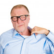 Man in black glasses opening shirt to vent — Stock Photo