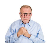Mature shy man with glasses — Stock Photo