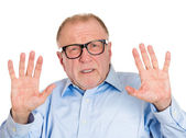 Man in glasses telling you to slow down — Stock Photo
