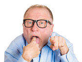 Mature man pointing, showing you suck — Stock Photo