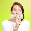 Woman with twenty dollar bill taped to mouth — Stock Photo #44000225