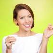 Female showing benefits of brushing flossing daily — Stock Photo