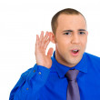 Man listening to juicy gossip — Stock Photo