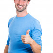 Woman showing thumbs up sign — Stock Photo