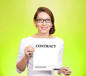 Business woman holding contract — Stock Photo