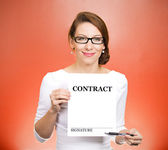 Woman holding contract — Stock Photo