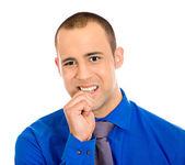 Man biting fingernail in stress — Stock Photo