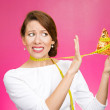 Woman with pizza and measuring tape around — Stock Photo